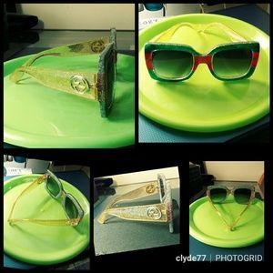 GUCCI Square - Frame Glittered Acetate Sunglasses